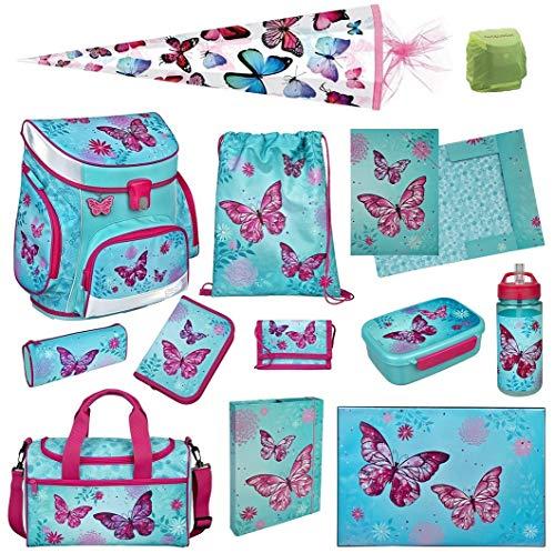 Familando Scooli Butterfly Schulranzen-Set 13tlg. Campus FIT Pro mit Sporttasche Schmetterling und Blumen türkis BUTE8253 Mädchen Schultaschen Komplett-Set