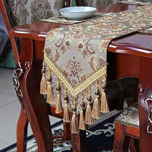 Camino de mesa, diseño vintage de lujo, color marrón, moderno, minimalista, elegante, bordado en jacquard, con borla, larga, para boda, hogar, decoración de mesa de café, 30 cm x 160 cm