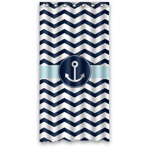 Cute Navy Blue and White Chevron with Nautical Anchor Bathroom Shower Curtain