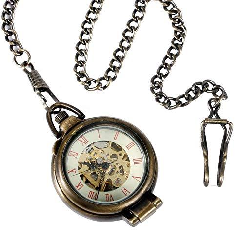 LXDDP Steampunk Trendy Fob Reloj de Bolsillo mecánico Cuerda a Mano Bronce Vintage Estuche de pie Esqueleto Colgante Hombres Mujeres
