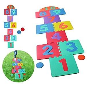 "Hopscotch Playmat Foam Interlocking Puzzle Floor Mat - 10 Large Number Tiles (12"" by 12"" Square Blocks)"