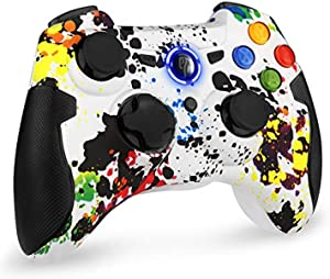 EasySMX 2.4G Wireless Controller for PS3, PC Gamepads with Vibration Fire Button Range up to 10m Support Windows PC, PS3, Android, Vista, TV Box Portable Gaming Joystick Handle (White)