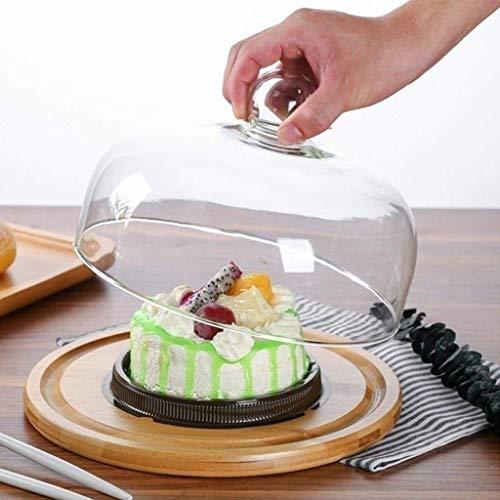 YNHNI Plato de postre ranurado de madera y tapa de vidrio, domo de sushi para el hogar, restaurante, postre, bandeja de pan servidor 26/29/33 cm soportes para tartas (tamaño : 29 cm)