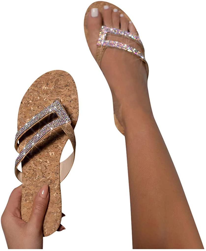 RUOYUN Flip unisex Flops for Women Great interest Sandals Flat Breathable Rhinestone