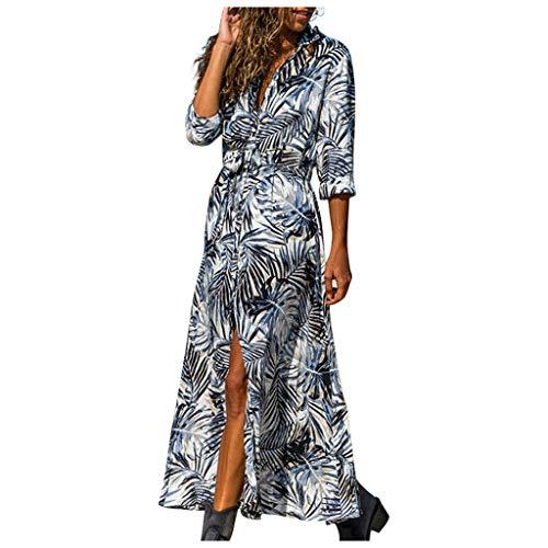 SHINEHUA Sommerkleid Damen Langarm V-Ausschnitt Elegant Lang Blusenkleid Hemdkleid Shirt Kleid Oberteil Maxikleid mit Gürtel Lang Shirtkleid Strandkleid