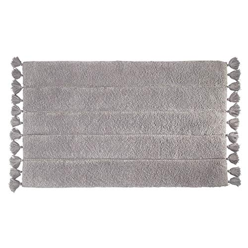Price comparison product image iDesign Tassel Bathroom Mat,  Rectangle-Shaped Small Rug Made of Cotton,  Grey,  53.3 cm x 86.4 cm
