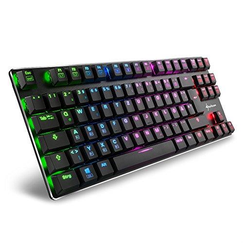 Sharkoon PureWriter RGB TKL Mechanische Low Profile-Tastatur (RGB Beleuchtung, blaue Schalter, flache Tasten, Tenkeyless, Beleuchtungseffekte, abnehmbarem USB Kabel) schwarz