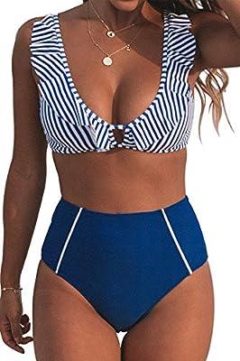 CUPSHE Women's Blue Striped Ruffles High Waisted Bikini Small
