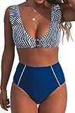 CUPSHE Women's Blue Striped Ruffles High Waisted Bikini Medium