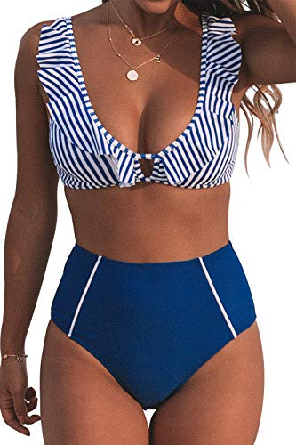 CUPSHE Women's Blue Striped Ruffles High Waisted Bikini Medium
