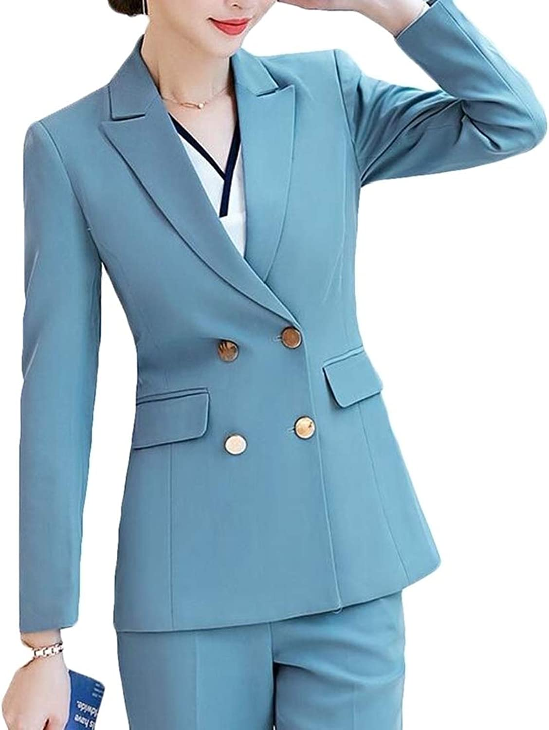 BLTR Women Blazer and Pants Office Work Solid Lapel 2 PCS Suits Sets Outfits