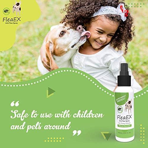 Anti tiques chien & anti puces chat BIO de FleaEx 100ml I Formule naturel pour toutes tailles d'animaux I Produit en spray pour animaux de compagnies