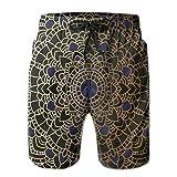 WANGKG Men's Big and Tall Swim Trunks Beachwear Drawstring Summer Holiday,Large Detailed Round Vintage Mandala Lotus Inspired Ethnic Ethnicity,3D Print Shorts Pants,Medium