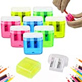 24 Pack Dual Hole Pencil Sharpener Manual Pencil Sharpeners with Lid for School Home Office Using,ForTomorrow Assorted...