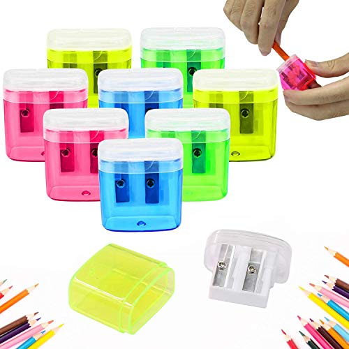24 Pack Dual Hole Pencil Sharpener Manual Pencil Sharpeners with Lid for School Home Office Using,ForTomorrow Assorted Bulk Hand Held Pencil Sharpener (24 Assorted Packs with Lid)
