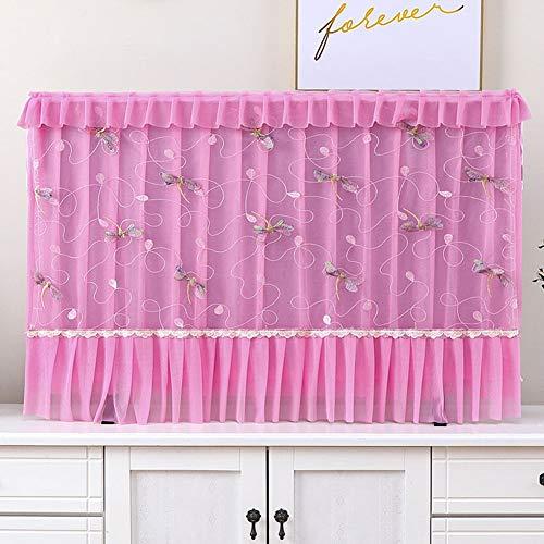 catch-L Interior Cubierta De Polvo De TV LCD Libélula Encaje Multicapa Decoración (Color : Pink, Size : 47inch(108 * 66cm))