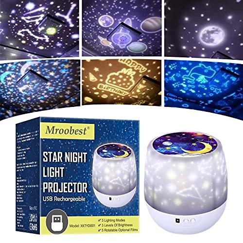 Lámpara Proyector Infantil Estrellas, Lámpara de nocturna Infantiles luz del proyector LED 360...