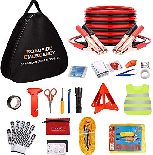 Adakiit Car Emergency Kit, Multifunctional Roadside Assistance Auto Safty Kit ,First Aid Kit, Jumper Cables, Tow Rope, Triangle, Flashlight, Safety Hammer and More Ideal Survival Pack Accessories
