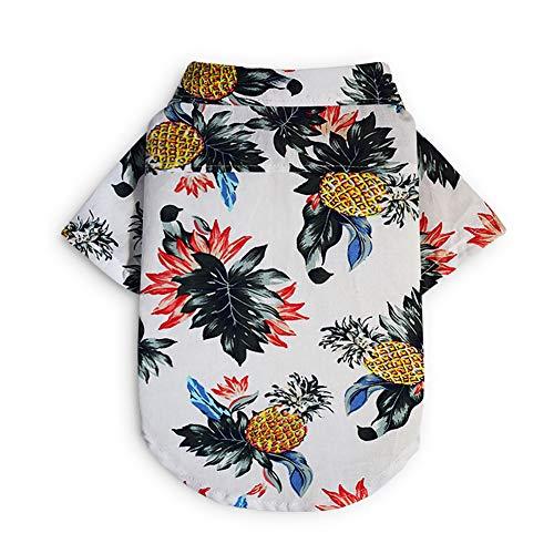 Tutuba Pet Small Dog Hawaiian Polo Shirt, Summer Printed Pineapple Short Sleeve Beach T-Shirt Vest Apparel Costumes