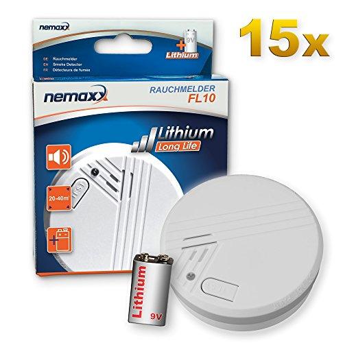 15x Nemaxx FL10 Rauchmelder - hochwertiger Rauchwarnmelder mit langlebiger 10 Jahre Lithium-Batterie - nach DIN EN 14604