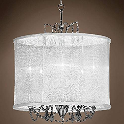 Drum Shade Chandeliers with Crystals