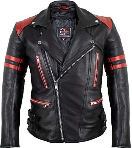 MDM Retro Motorrad Lederjacke 80´s Oldschool erhältlich (XL, schwarz/rot)