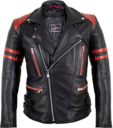 MDM Retro Motorrad Lederjacke 80´s Oldschool erhältlich (L, schwarz/rot)