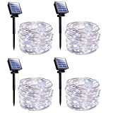 Outdoor Solar String Lights, 4 Pack 33FT 100 LED Solar Powered Fairy Lights with 8 Lighting Modes Waterproof Decoration Copper Wire Lights for Patio Yard Trees Christmas Wedding Party (Pure White)