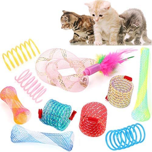 Legendog Cat Spring Toy 10 Pack Plastic Springs Cat Toys Colorful Cat Toy with Spring and Feather product image