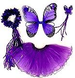 Tante Tina Schmetterling Kostüm Mädchen - 4-teiliges Mädchen Kostüm Schmetterling mit Tüllrock , Flügel , Zauberstab und Haarreif - Monarchfalter Lila - geeignet für Kinder von 2 bis 8 Jahren
