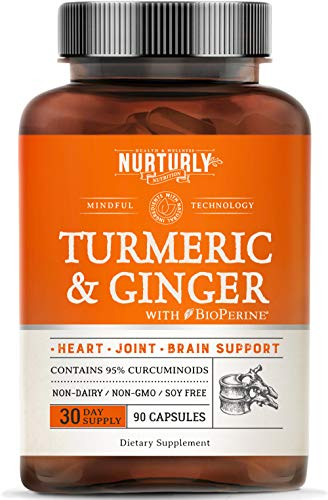 Turmeric Curcumin with BioPerine & Ginger, Black Pepper and 95% Curcuminoids – High Absorption Turmeric Supplements for Joint, Hearth & Inflammatory Health – Non-GMO, Gluten Free - 90 Capsules