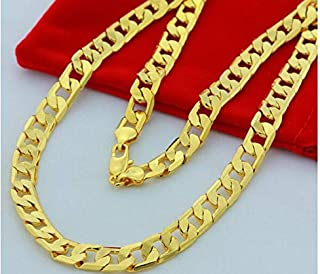 24k Yellow Gold Filled Men's Cuban Chain Necklace 10mm 24