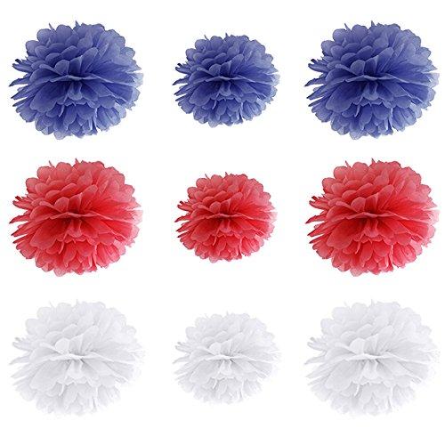 Like a Girl- wir lieben Hochzeiten Set 9 Seidenpapier Pom Poms Pompons in 2 Größen Pompoms Rosetten Partydeko Hochzeit Seidenpapier Deko (Blau-Rot-Weiss)