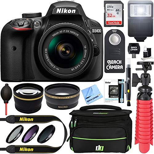 Nikon D3400 24.2 MP DSLR Camera + AF-P DX 18-55mm VR NIKKOR Lens Kit + Accessory Bundle 32GB SDXC...