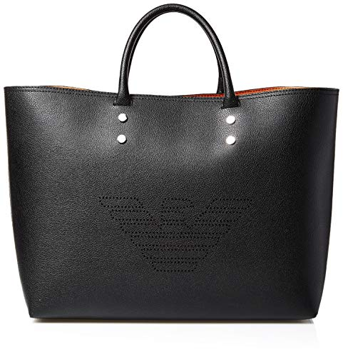 Emporio Armani borsa shopper in pelle riciclata in nero e juno sunrise Black Leather