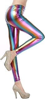 Womens Sexy Shiny Faux Leather Leggings Wet Look Metallic Waist Legging Pants Trousers