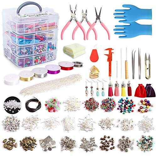 Jewelry Making Kit, 1960 pcs Jewelry Making Supplies Includes Jewelry Beads, Instructions, Findings, Wire for Bracelet, Necklace, Earrings Making, Great Gift for Girls and Adults by Inscraft