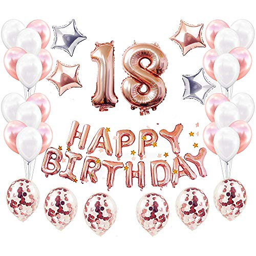 JinSu Rose Gold 18. Geburtstag Dekorationen Luftballons für Mädchen, 48 Stück Geburtstag Deko mit Happy Birthday Banner, Konfetti Latex Ballons, Sterne Folienballons, Geburtstag Dekoration (Für 18.)