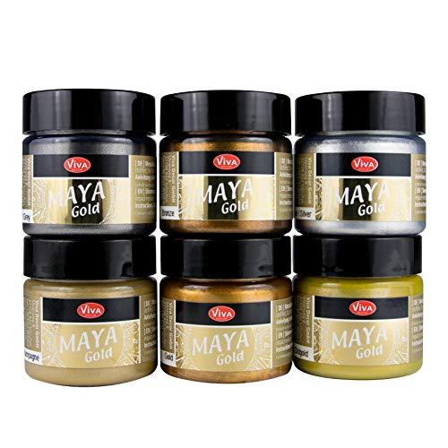 LM-Kreativ Maya Gold 6er Set von Viva Decor (Glamour), Metallic Metall-Glanz, Effekt-Farbe Bastel-Farbe, Deko-Farbe metallisch glänzend, 6 x 45 ml