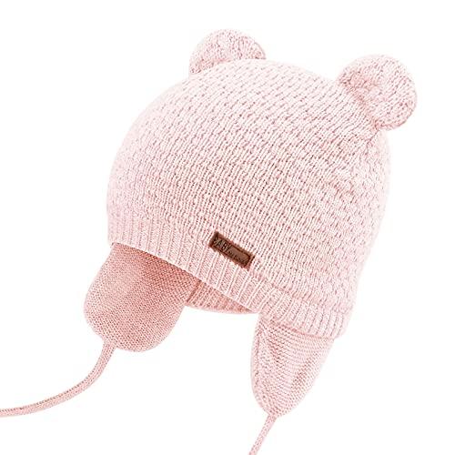 DRESHOW Unisex Baby Mütze Süßer Bär Kleinkind Earflap Beanie Strickmütze Warm Herbst Wintermütze, Pink, Gr.- 7-15 Monate/ Medium