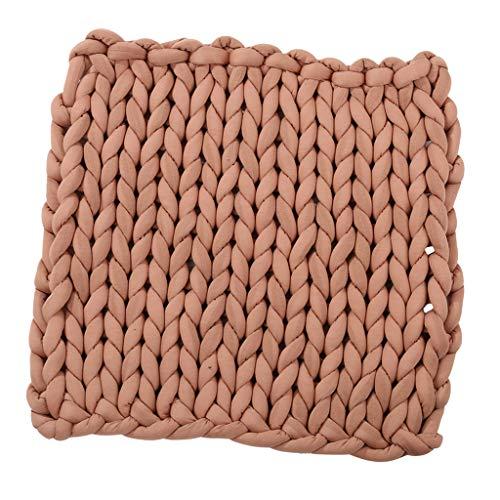 手チャンキーニット毛布厚手のウールかさばる編み物 - ブラウン, 60 x 60cm