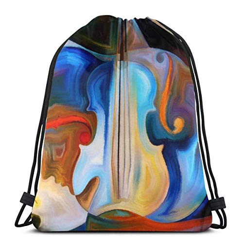 Hangdachang Bunte menschliche und musikalische Formen ViolineFarbe menschliche und musikalische Formen Violine Kordelzug Sportrucksack Leichter Fitness-Yoga-Sackpack Lässiger Outdoor-Tagesrucksack