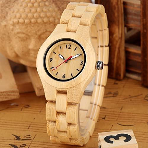 NDYD Reloj De Madera Completo Vintage para Mujer, Pulsera De Madera, Relojes De Cuarzo, Reloj para Mujer, Esfera Roja De Segunda Mano De Lujo Superior para Mujer,A