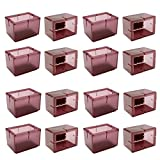 Chair Leg Caps, WarmHut 16pcs Transparent Clear Silicone Table Furniture Leg Feet Tips Covers Wood Floor Protectors, Felt Pads, Prevent Scratches (Rectangle)(Tea)