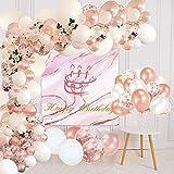 Lunriwis Kit de Guirnalda de Globos,102 Pcs globos Oro rosa y blanco mate Confeti Lleno de globos de látex Paquete para Decoración de Bodas , Fiesta para Baby Shower Fiesta de Cumpleaños