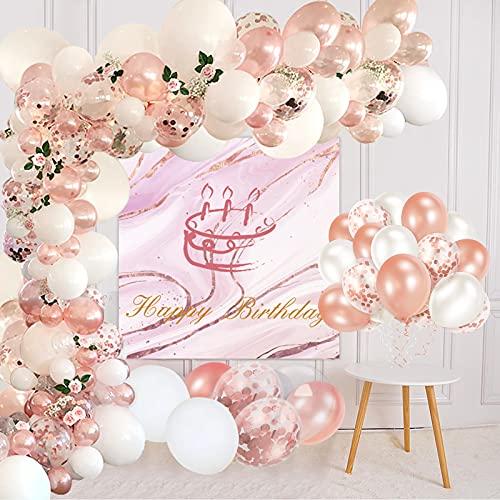 Lunriwis Palloncini Oro rosa Kit Ghirlanda Arco,105 Pezzi Kit Arco Palloncini Decorazioni Feste di Compleanno per Compleanno, Matrimonio, Anniversario, Baby Shower, Decorazioni
