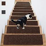 Peldaños para escaleras, 20 x 76 cm, alfombra para escaleras de madera en el interior, autoadhesivo y antideslizante para niños, para perros y mascotas, color marrón (2 juegos)