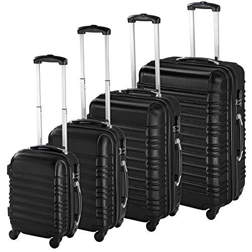TecTake Set de 4 valises de Voyage de ABS avec Serrure à Combinaison intégrée | poignée télescopique | roulettes 360° - diverses Couleurs au Choix - (Noir | no. 402024)