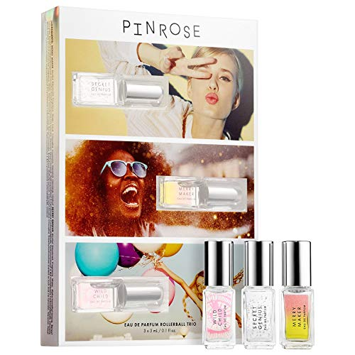 Pinrose The Greatest Hits Kit. Set of 3 Vegan & Cruelty-Free Eau de Parfum Rollerballs. Secret Genius, Merry Maker & Wild Child (0.10 oz / 3 mL)