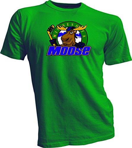 MINNESOTA MOOSE Defunct St. Paul MN IHL Hockey Team Retro Green T-SHIRT NEW Large